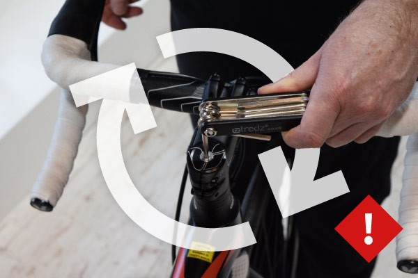 Tighten the top bolt, using the multi tool provided, until resistance is felt