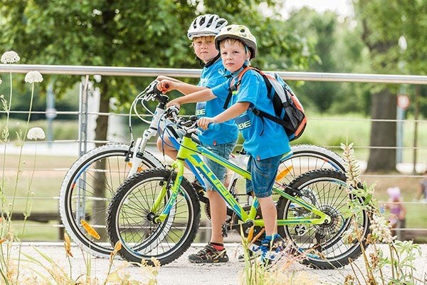 Kids bike riding