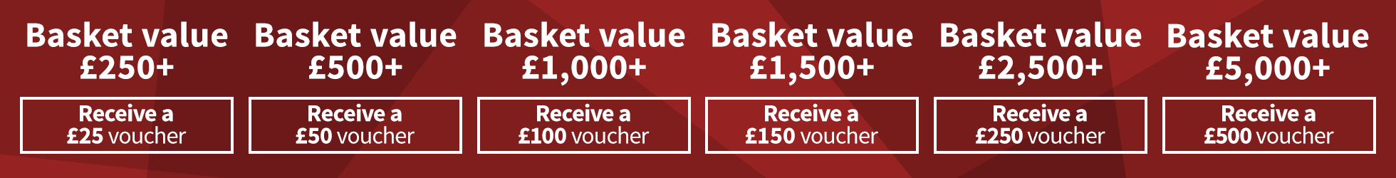 Up to £500 Vouchers Now On