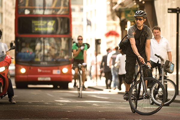 Cyclist on a commuter bike in London