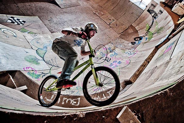 BMX riding in a skate park