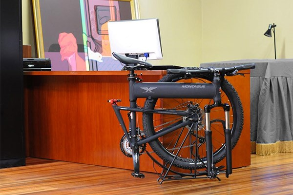 Compact folding bike in the office