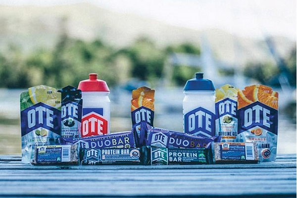 A wide selection of OTE nutrition bars and gels on show