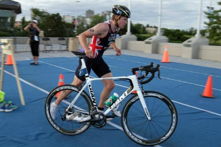 Liam in transition during a Triathlon
