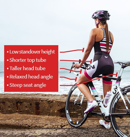A image illustrating the key physical characteristics of a women and how they relate to womens specific bikes
