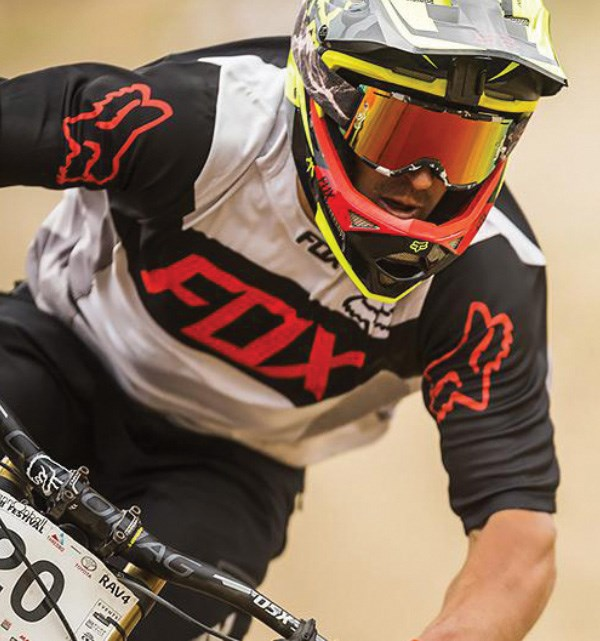 Chris Kovarik wearing a well ventilated Fox helmet