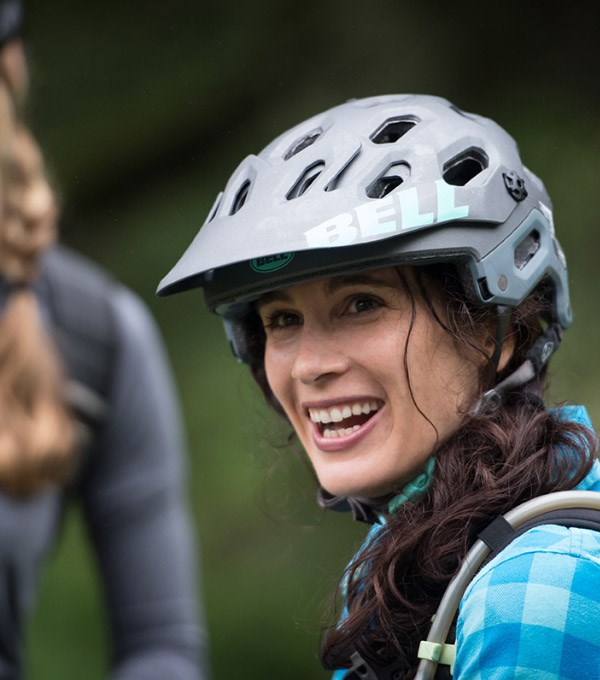 Mountain biker wearing a Bell Super 2 Helmet