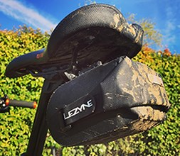 A lightweight Lezyne bike bag fixed to a bike frame