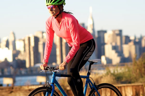 Cyclist wearing bib tights, in the city, in spring