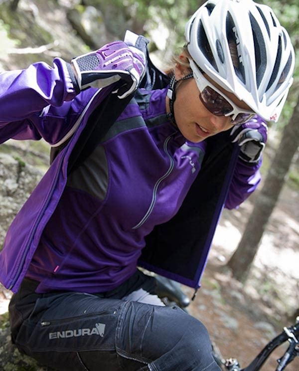Purple cycling softshell jacket