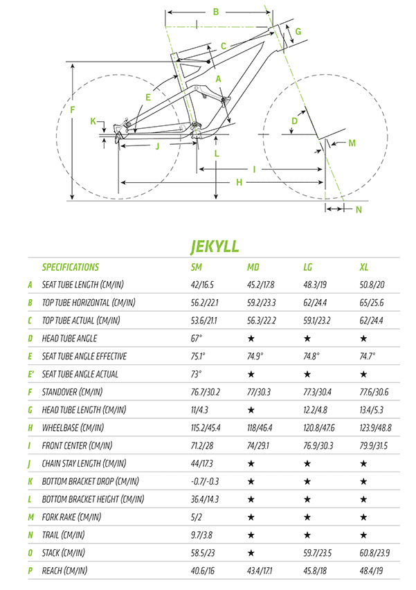 This image illustrates the various parts of the bike and the dimensions of these parts