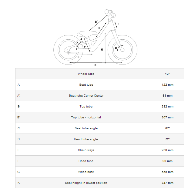 This image illustrates the different parts of the bike and the dimensions of these