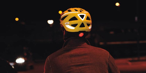 A rear view of a high visibility helmet suitable for cycling at night