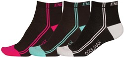 Endura Coolmax Womens Striped Socks (3 Pack) AW17