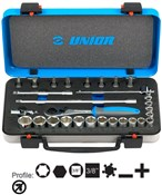 "Product image for Unior Socket Set 3/8"" In Metal Box"