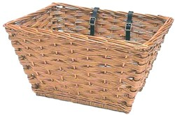 Wicker Jumbo Front Basket and Leather Straps