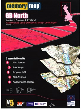Memory Map OS Landranger 1:50k Standard Edition Great Britain - North V5 - CD