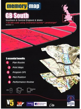 Image of Memory Map OS Landranger 1:50k Standard Edition Great Britain - South V5 - CD