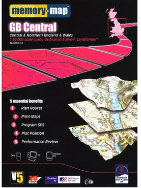 Memory Map OS Landranger 1:50k Standard Edition Great Britain - Central V5 - CD