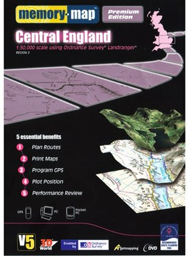 Memory Map OS Landranger 1:50k Premium Edition Central England V5 - CD