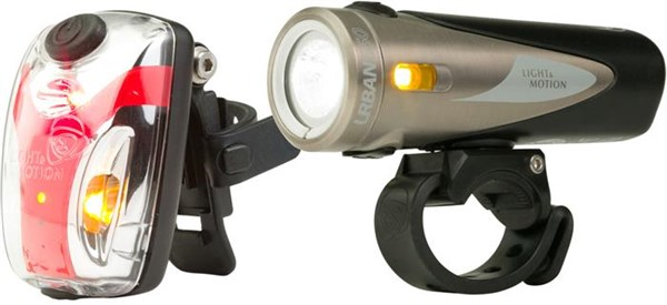 Image of Light and Motion Urban 650 Silver Moon & Vis 180 Micro Twinpack USB Rechargeable Light Set