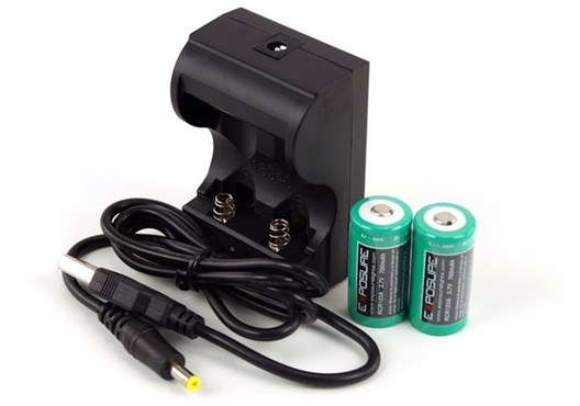 Exposure USB Charger with 2xRCR123 Batteries