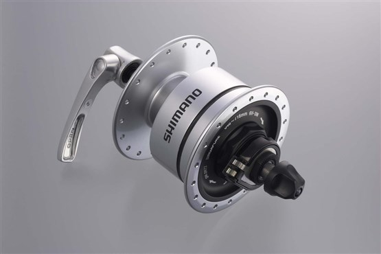 Image of Shimano DH-3N72 6v 3.0w Quick Release Dynamo Front Hub For Use With Rim Brakes - 32h