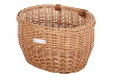 Product image for Bobbin Market Wicker Oval Basket with Leather Straps
