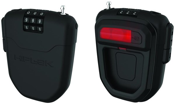 HipLok FLX Wearable Retractable Combination Lock with Integrated Rear Light Black