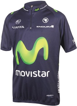 Image of Endura Movistar Team Kids Short Sleeve Cycling Jersey AW16