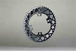 absoluteBLACK 110BCD 4 Bolt Spider Mount Aero Oval 2X Asymmetric Premium Race Chainring