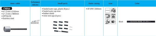 Image of Shimano XT M8000 MTB Gear Cable Set - Optislick Coated Inners