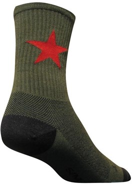 "SockGuy Crew 6"" Wool Red Star Socks"