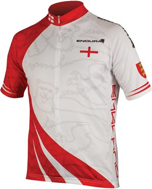 Endura CoolMax Printed England Short Sleeve Cycling Jersey SS16