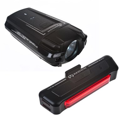 Moon Meteor 200 Lumens Front and Comet 35 Lumens Rear USB Rechargeable Light Set